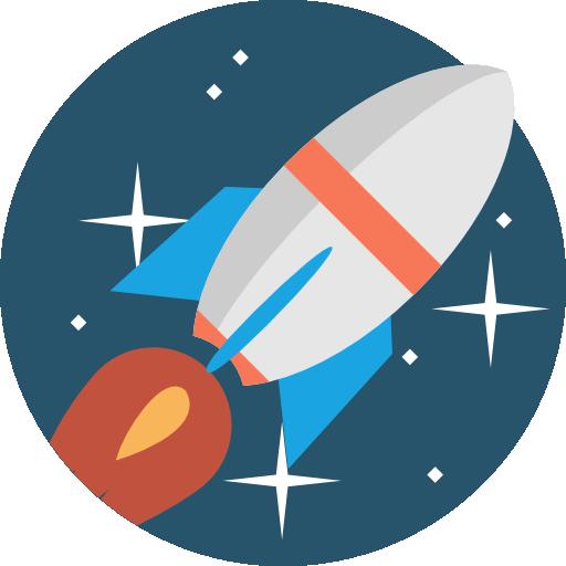 Illustration de concept de fusée qui décolle dans l'espace tel votre covering adhésif publicitaire sur voiture